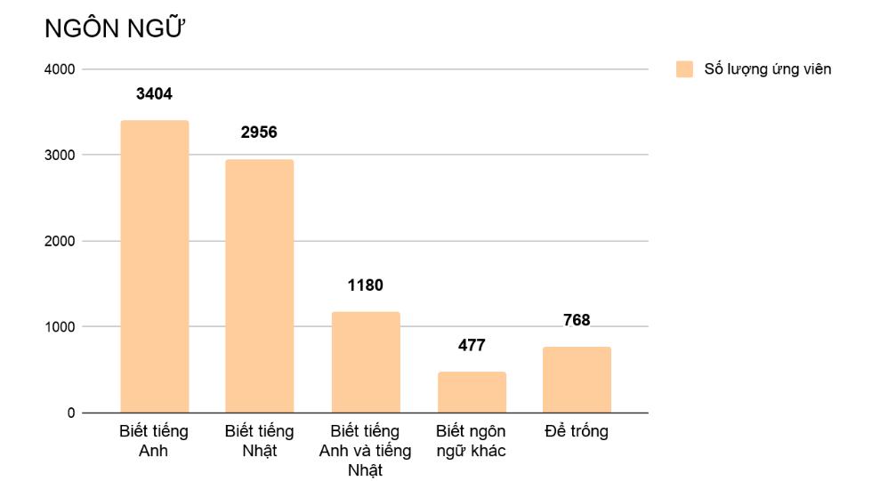 Thống kê trình độ ngoại ngữ của ứng viên Việc Ơi